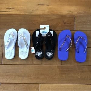 NWT Girls Justice Sparkle Flip Flop Lot of 3 Pairs